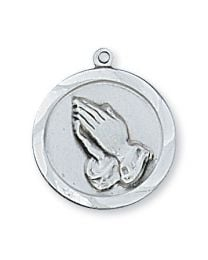 "Praying Hands Sterling Silver Medal on 18"" Chain"