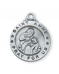"St. Anne Sterling Silver Medal on 18"" Chain"