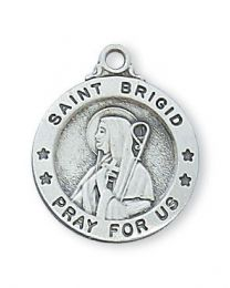 "St. Brigid Sterling Silver Medal on 18"" Chain"