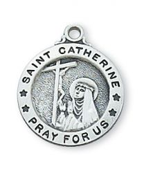 "St. Catherine Sterling Silver Medal on 18"" Chain"