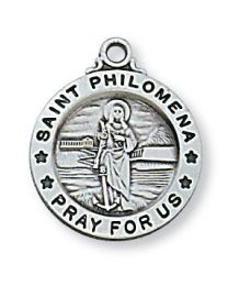 "St. Philomena Sterling Silver Medal on 18"" Chain"
