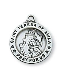 "St. Teresa Sterling Silver Medal on 18"" Chain"