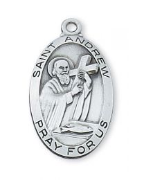 "St. Andrew Sterling Silver Medal on 24"" Chain"