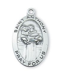 "St. Anthony Sterling Silver Medal on 18"" Chain"