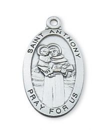 "St. Anthony Sterling Silver Medal on 24"" Chain"