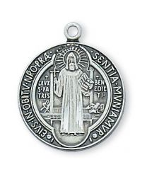 "St. Benedict Sterling Silver Medal on 18"" Chain"