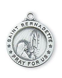"""St. Bernadette Sterling Silver Medal on 18"""" Chain"""