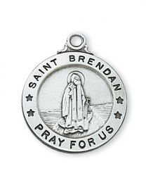 "St. Brendan Sterling Silver Medal on 20"" Chain"