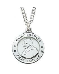"St. Charles Sterling Silver Medal on 20"" Chain"