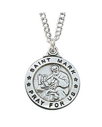 "St. Mark Sterling Silver Medal on 20"" Chain"