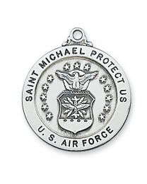 "St. Michael Air Force Service Sterling Silver Medal on 24"" Chain"