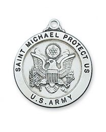 "St. Michael Army Service Sterling Silver Medal on 24"" Chain"