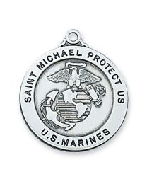 "St. Michael Marine Service Sterling Silver Medal on 24"" Chain"