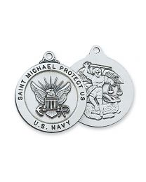 "St. Michael Navy Service Sterling Silver Medal on 24"" Chain"