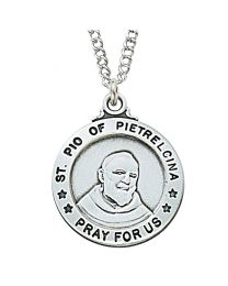 "St. Padre Pio Sterling Silver Medal on 20"" Chain"