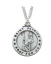 "St. Patrick Sterling Silver Medal on 20"" Chain"