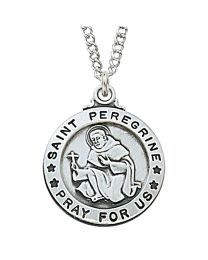 "St. Peregrine Sterling Silver Medal on 20"" Chain"