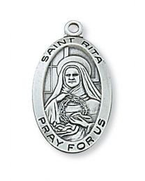 "St. Rita Sterling Silver Medal on 18"" Chain"