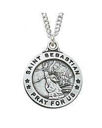 "St. Sebastian Sterling Silver Medal on 20"" Chain"