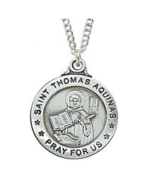 "St. Thomas Aquinas Sterling Silver Medal on 20"" Chain"