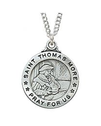 "St. Thomas More Sterling Silver Medal on 20"" Chain"