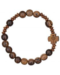 Striped Wood Rosary Bracelet