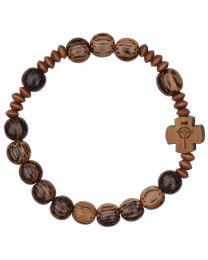 Striped Wood Rosary Bracelet