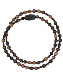 Jujube Wood Twist Rosary Bracelet