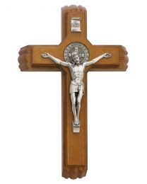 "12.75"" Walnut Stained St. Benedict Sick Call Crucifix"