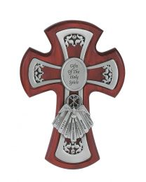 """6"""" Cherry Wood Gifts of the Holy Spirit Confirmation Cross"""