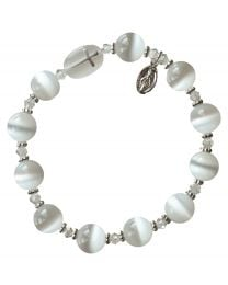 Genuine White Cat's Eye Rosary Bracelet