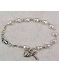 White Pearl Hearts First Communion Bracelet